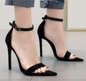 高跟涼鞋 高跟鞋 早春新款歐美風素面百搭尖頭一字扣時尚女鞋韓版女鞋子【多多鞋包店】ds3992