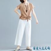 純色綁帶文藝亞麻棉麻上衣女裝夏季寬鬆顯瘦大碼半袖百搭短袖t恤 EY11596『俏美人大尺碼』