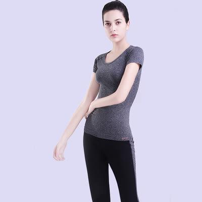 夏款弧形圓領短袖多彩時尚上衣吸濕排汗速幹跑步健身瑜伽必備T恤  -124820013
