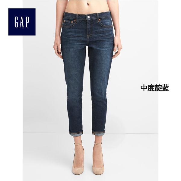 Gap女裝 基本款水洗百搭款男友風彈力牛仔褲 240839-中度靛藍
