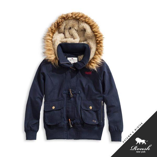 【Roush】女生泰迪熊鋪毛設計牛角釦連帽短大衣 - 【615692】