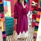 韓國chic復古宮廷風連帽寬鬆中長款長袖下擺蕾絲拼接衛衣洋裝女 小時光生活館