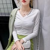 長袖T恤 打底衫S-2XL韓版8996#2021春秋新款V領褶皺彈力打底衫長袖t恤女秋裝NE02快時尚