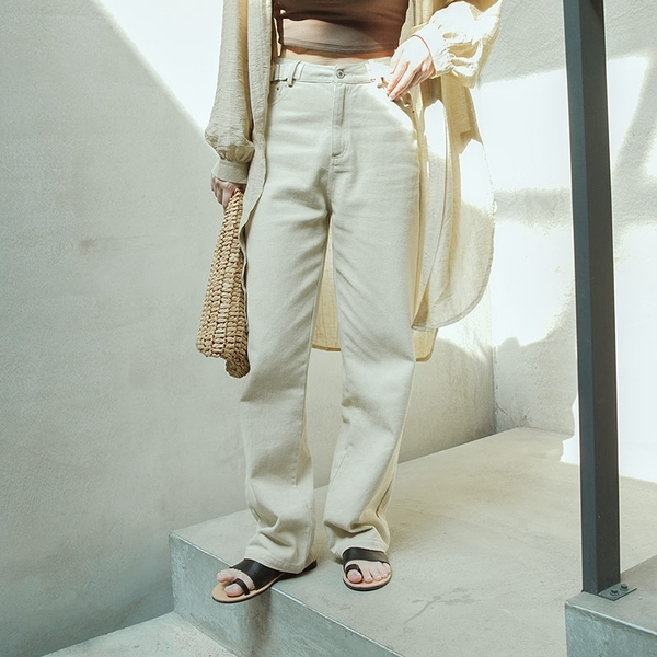 Queen Shop【04101535】側調節腰帶斜紋直筒長褲 S/M/L*現+預*