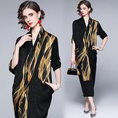 中大尺碼洋裝連身裙~民族風高貴大碼不規則修身顯瘦氣質印花連身裙H405A莎菲娜