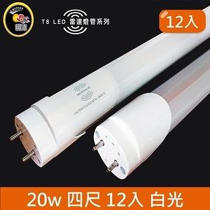 HONEY COMB LED T8-4尺20w白光雷達感應燈管 12入