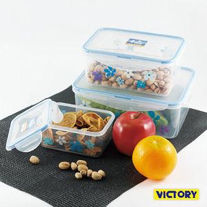 【VICTORY】長形扣式食物密封保鮮盒3件組合包