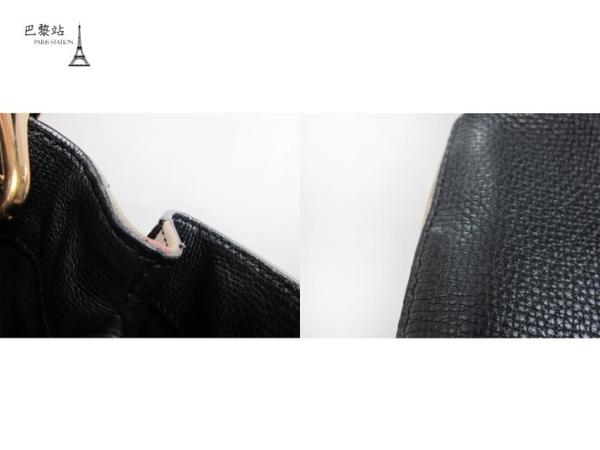 【巴黎站二手名牌專賣店】*現貨*BURBERRY 真品*黑色牛皮拼格紋帆布手提肩背包 兩用包