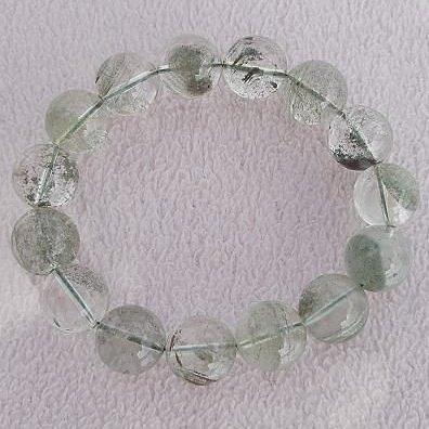 【歡喜心珠寶】【天然巴西綠幽靈水晶圓珠15mm手鍊】15顆.重66g「附保証書」超低價售出!