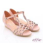 effie個性涼夏 真皮水鑽鏤空T字楔型涼鞋  粉紅