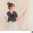 《AB15653》甜美領綁帶花朵印花楊柳雪紡上衣 OrangeBear