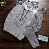 韓版幾何圖形設計長袖運動套裝 灰《P5113 》