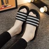 浴室拖鞋   夏浴室洗澡拖鞋可愛條紋情侶室內女士居家居涼拖鞋