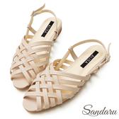 訂製鞋 古著交叉編織低跟涼鞋-艾莉莎ALISA【09A968】杏色下單區
