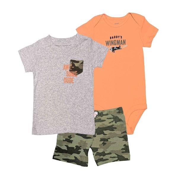 男寶寶套裝三件組 短袖包屁衣+T恤上衣+迷彩短褲 灰口袋 | Carter s卡特童裝 (嬰幼兒/小孩/baby)