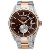 SEIKO 精工Presage 經典簡約都會機械鋼帶腕錶-咖啡x玫瑰金4R57-00A0P/SSA308J1
