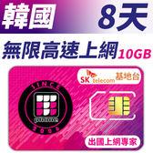 【TPHONE上網專家】韓國 高速上網卡 8天無限上網 (前面10GB 支援4G高速)