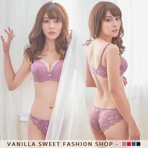 內衣 香草甜心 性感透膚立體心型襯墊蕾絲內衣 男友最愛 極致魅誘 B.C罩杯(附贈蕾絲內褲) 魅力紫