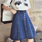 (全館一件免運)DE SHOP~(GU-3131)中長款純色單色藍色單寧牛仔裙半身裙高腰傘裙大擺A字裙