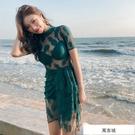 2019新款連體鋼托溫泉泳衣女保守平角三...