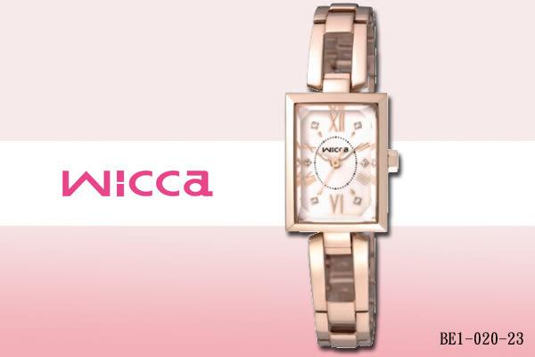 【時間道】 [CITIZEN。星辰]Wicca淑女方型腕錶/白面玫瑰金鋼 (BE1-020-23)免運費