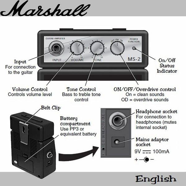 【非凡樂器】Marshall MS-2W 迷你電吉他音箱 / 攜帶式音箱 / 白色 /公司貨