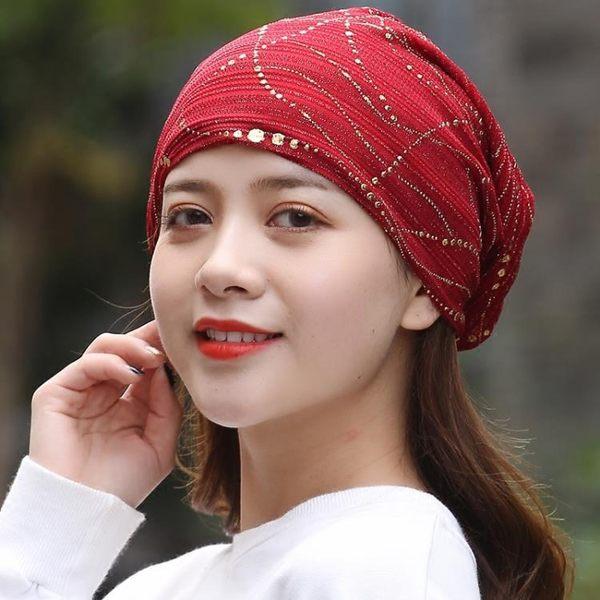 帽子女休閒透氣蕾絲頭巾帽金絲包頭帽薄款帽女薄夏空調帽【快速出貨】