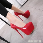 2018年新款 上腳超美 16CM經典防水臺外貿高跟鞋性感細跟女鞋「時尚彩紅屋」