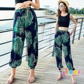 沙灘褲 海邊度假瑜伽民族風寬鬆寬廣燈籠褲女夏季泰國棉綢防蚊褲沙灘長褲 12色