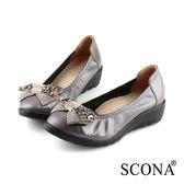 SCONA 蘇格南 全真皮 輕盈鑽飾楔型鞋 灰色 22805-2