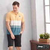 【JEEP】經典LOGO拼接短袖POLO衫(黃綠)