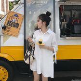 背後百褶中長袖襯衫洋裝新款寬鬆短袖女艾美時尚衣櫥