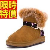 短筒雪靴-厚底磨砂紫色骷髏皮革女靴子62p64[巴黎精品]
