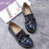 大尺碼女鞋-凱莉密碼-時尚復古擦色流蘇蝴蝶結樂福鞋皮鞋3cm(41-43)【APA-7】藍色