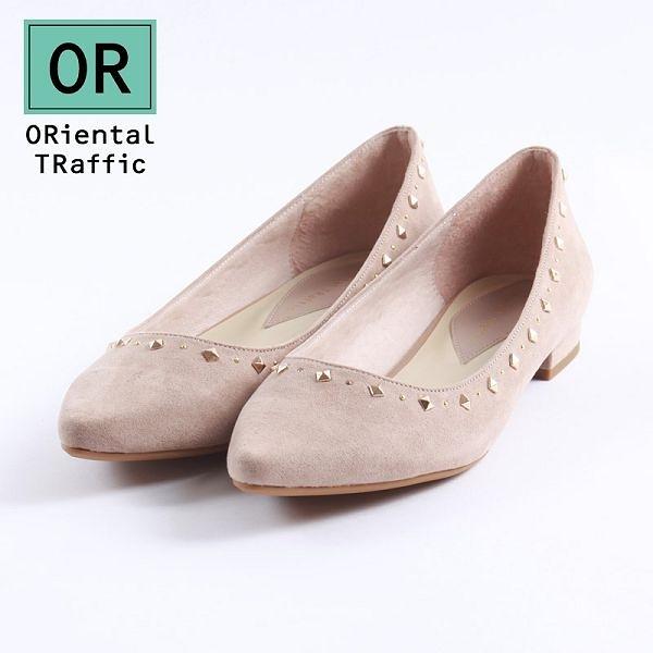 【ORiental TRaffic】幾何金屬鉚釘尖楦包鞋-簡約米