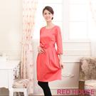 RED HOUSE-蕾赫斯-素面七分袖打褶蝴蝶結洋裝(桃粉橘色)