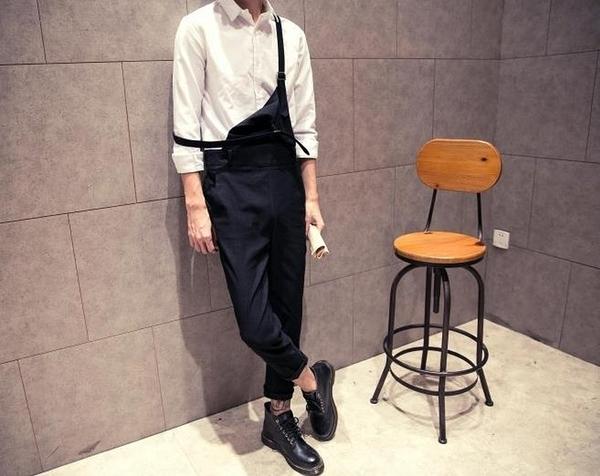 【JP.美日韓】韓國 合身吊帶褲 吊帶褲 男 平價服飾 男裝 亞森 搖滾 西岸