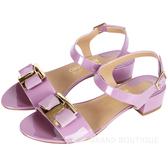 Salvatore Ferragamo Marie 經典漆皮低跟涼鞋(粉紫色) 1520067-47