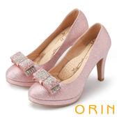 限時特賣-ORIN 晚宴婚嫁首選 華麗閃耀蝴蝶結水鑽高跟鞋-粉紅
