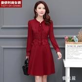 大碼中長款雪紡衫媽媽洋裝 2020秋裝新款女裝修身顯瘦長袖蕾絲連身裙 BT18344『優童屋』