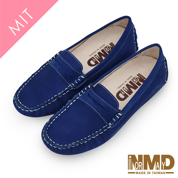 莫卡辛豆豆鞋 柔軟羊皮反絨麂皮磁石增高樂福豆豆鞋-MIT手工鞋(經典藍) Normady 諾曼地