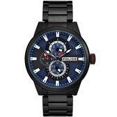【台南 時代鐘錶 POLICE】義式潮流 賽車風格三眼日期時尚手錶 15509JSB-03M 藍/黑鋼 45mm