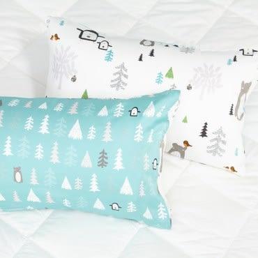 HOLA 雪白世界木棉絲防螨抗菌枕套2入