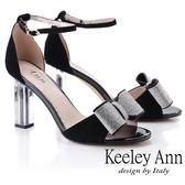 ★2019春夏★Keeley Ann氣質名媛 立體水鑽蝴蝶結粗跟鞋(黑色)-Ann系列