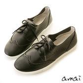 amai柔軟皮革雕花綁帶休閒鞋 黑