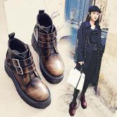 增高鞋 復古馬丁靴女英倫風坡跟短靴 新款秋冬原宿百搭厚底內增高女鞋 韓菲兒