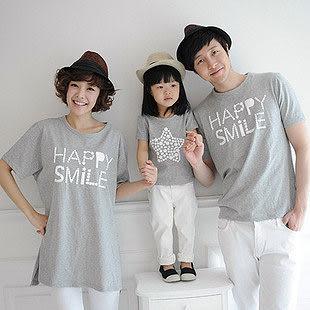 韓版快樂星星灰色長版T恤親子裝情侶裝(小孩)