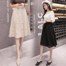蕾絲半身裙女2021春夏新款韓版百搭修身A字中裙高腰修身顯瘦時尚 果果輕時尚