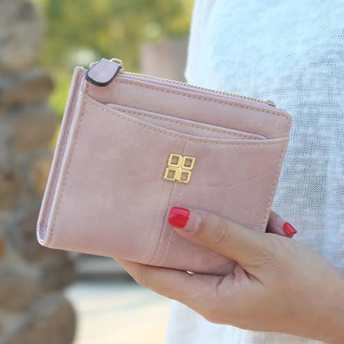 短夾 漸層色 金屬 裝飾 抽卡 錢包 卡包 短夾【PN4504】 BOBI  08/17