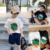 男童短袖t恤夏季韓版寶寶恐龍半袖上衣兒童體恤【淘嘟嘟】